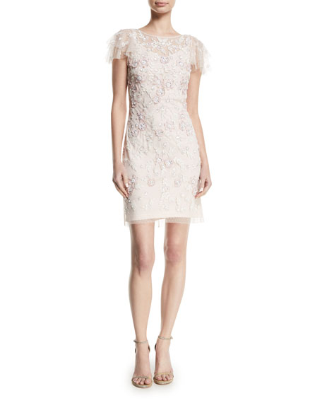 Aidan Mattox Floral Beaded Flutter-Sleeve Dress