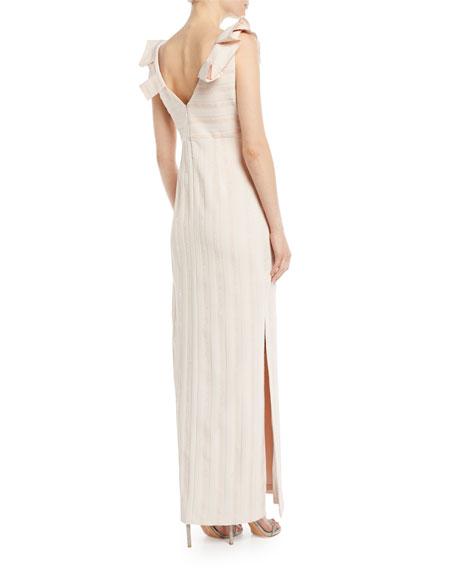 V-Neck Column Gown w/ Pleat Detail