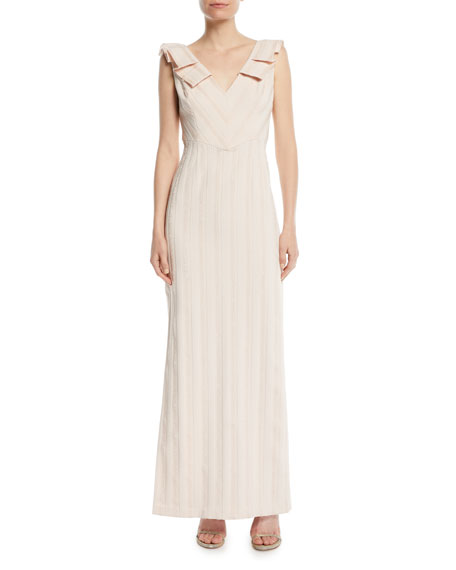 Aidan Mattox V-Neck Column Gown w/ Pleat Detail
