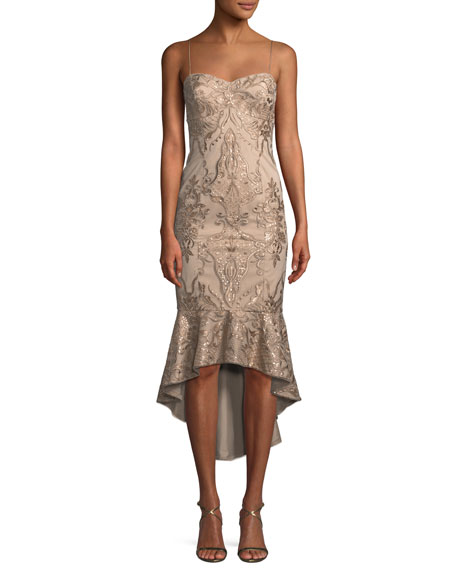 High-Low Brocade Cocktail Dress