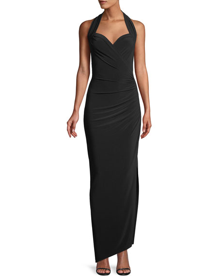 MJ Sleeveless Halter Gown w/ Draped Side