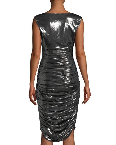 Tara Shirred Cocktail Dress in Metallic Jersey