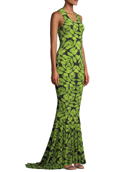MJ Racer Fishtail Gown in Leaf Print