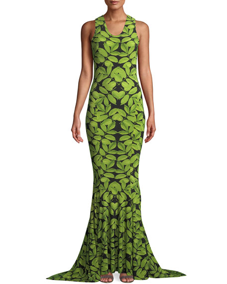 Norma Kamali MJ Racer Fishtail Gown in Leaf