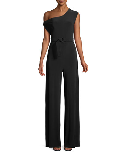 MJ Drop-Shoulder Belted Jumpsuit