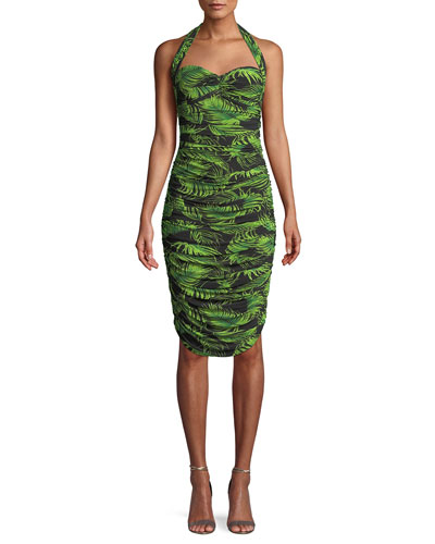 Bill Palm Leaf Shirring Halter Dress