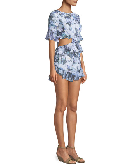 The Lyndsey Floral Playsuit w/ Ruffle Trim