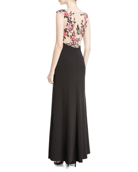 Sleeveless Mermaid Gown w/ Floral Embellished Back
