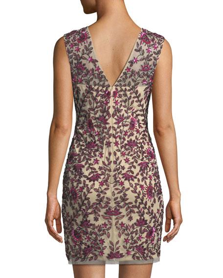Sequin Embellished V-Neck Sheath Dress