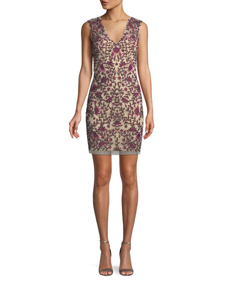 Aidan Mattox Sequin Embellished V-Neck Sheath Dress