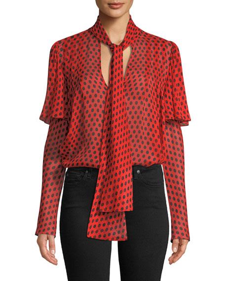 Silk Dot-Print Tie-Neck Blouse