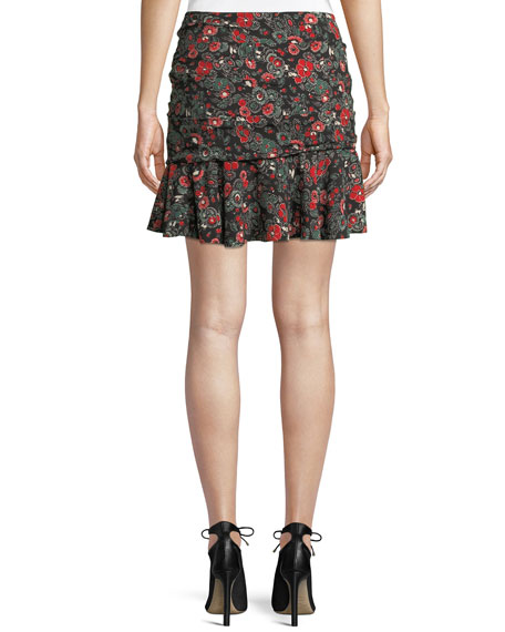 Noon Floral-Print Ruched Silk Skirt