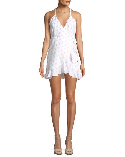 Gigi Dot-Print Flounce Wrap Dress