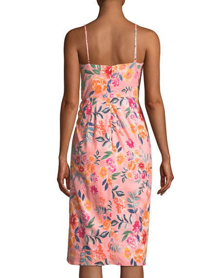 Orchid Sleeveless Floral Faux-Wrap Dress