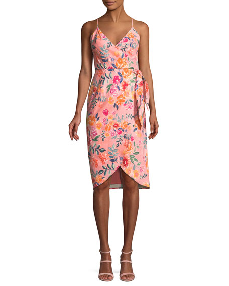 Lovers And Friends Orchid Sleeveless Floral Faux-Wrap Dress