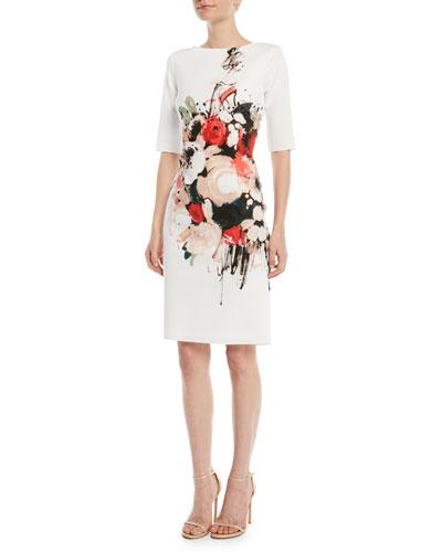 Scuba Floral-Print Sheath Dress