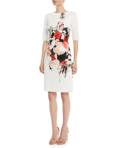 Scuba Floral-Print Sheath Dress