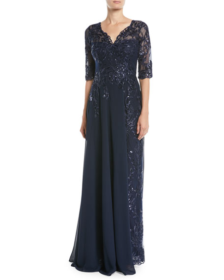 RICKIE FREEMAN FOR TERI JON Lace Gown W/ Chiffon Overlay Skirt in Navy