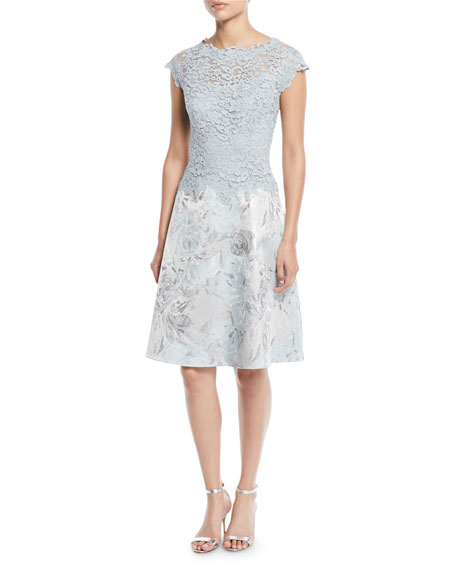 Lace & Jacquard Short-Sleeve Cocktail Dress