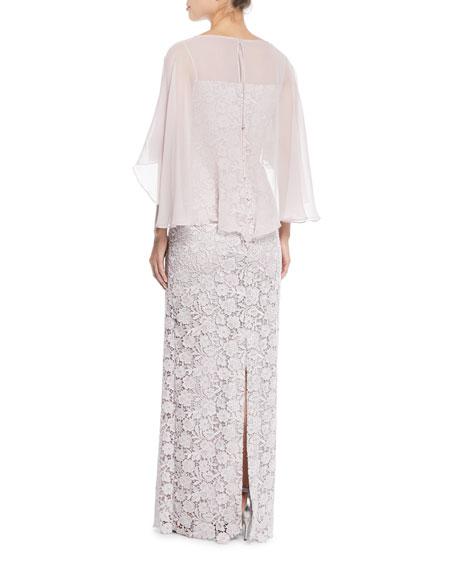 Lace Column Gown w/ Chiffon Capelet
