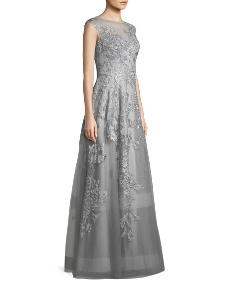 Tulle Illusion Gown w/ Crystal & Lace Embroidery