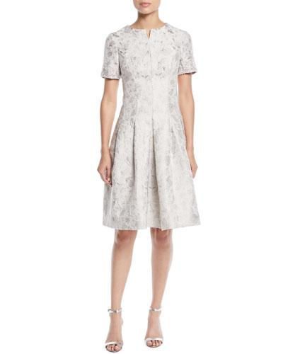 Jacquard Dress w/ Beaded Short Sleeves