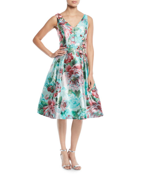 Floral Jacquard Gazaar Party Dress, Multi