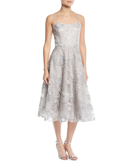 RICKIE FREEMAN FOR TERI JON Strapless Embroidered Floral Lace Midi Cocktail Dress in Silver