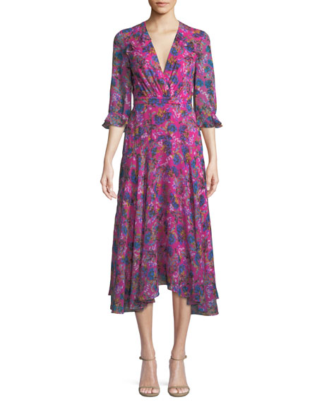 Edith V-Neck Silk Dress, Multipattern