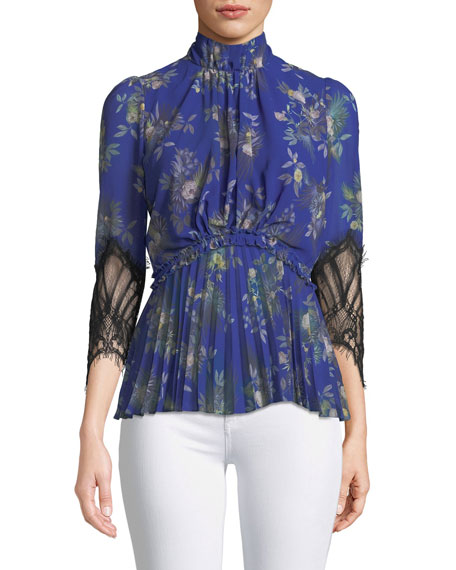 Stanwyck Peony-Print Top w/ Lace Sleeves