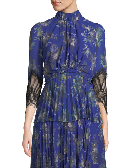 CAMILLA AND MARC Stanwyck Peony-Print Top w/ Lace