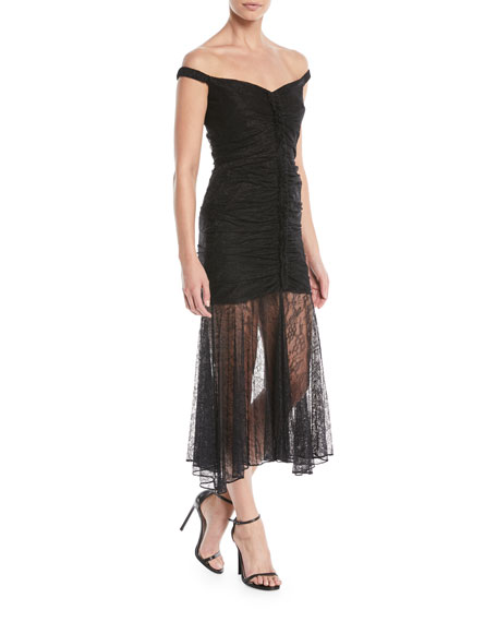 CAMILLA AND MARC Sinclair Lace Illusion Midi Dress