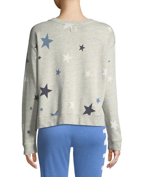 High-Low Printed Crewneck Sweatshirt