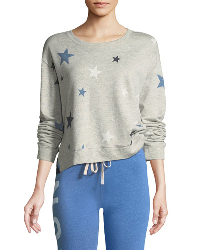 High-Low Printed Crewneck Sweatshirt