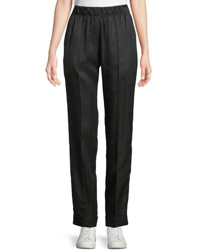 Pleated Silk-Blend Suit Pants