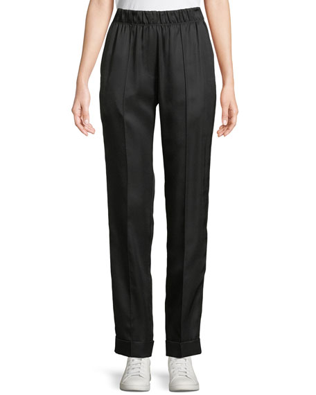 Pleated Silk-Blend Suit Pants