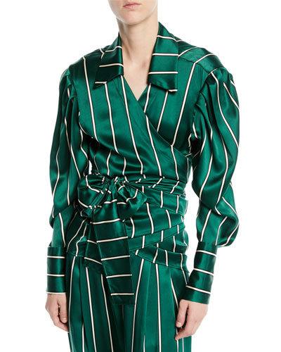 Wrap It Up Striped Silk Long-Sleeve Shirt