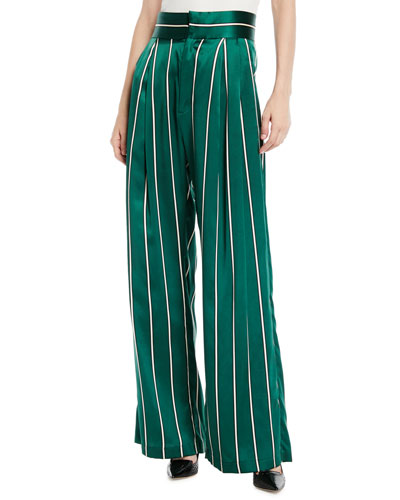 Love Unconditionally Striped Silk Wide-Leg Pants