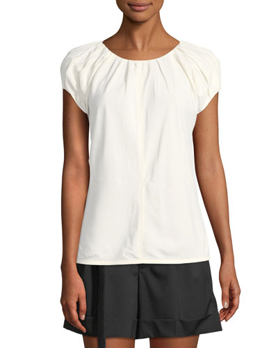 Pleated Cap-Sleeve Top