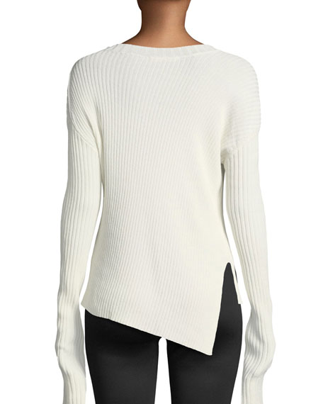 Ribbed Crewneck Split Sweater