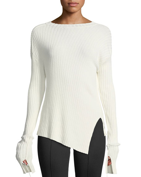Helmut Lang Ribbed Crewneck Split Sweater