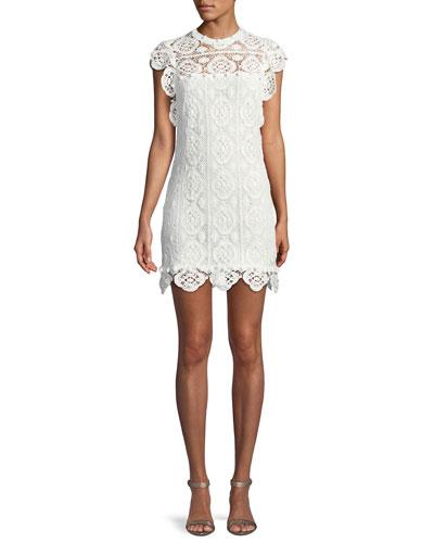Fiona Embroidered Crotchet Lace Mini Dress