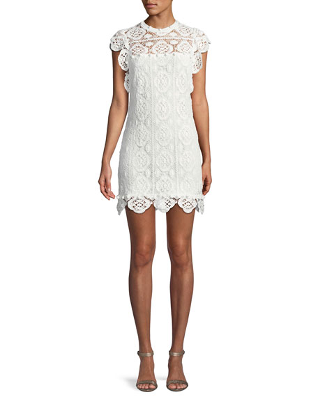 Fiona Embroidered Crotchet Lace Mini Dress