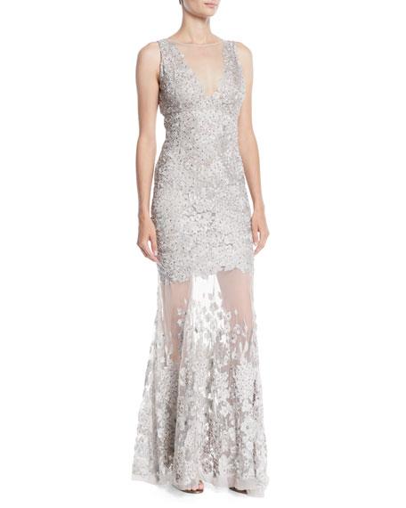 Elie Tahari Larsa Lace Illusion Mermaid Gown