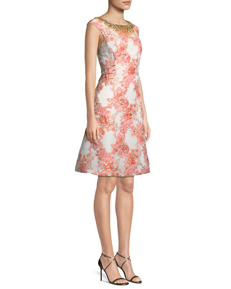A-Line Brocade Dress w/ Jeweled Neckline