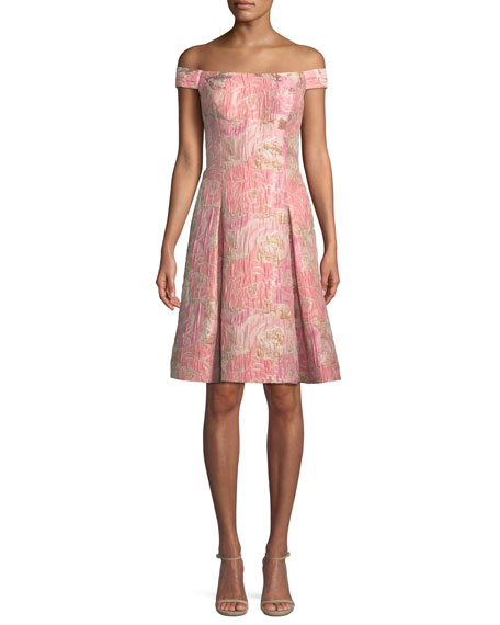 Aidan Mattox Off-the-Shoulder Brocade Cocktail Dress