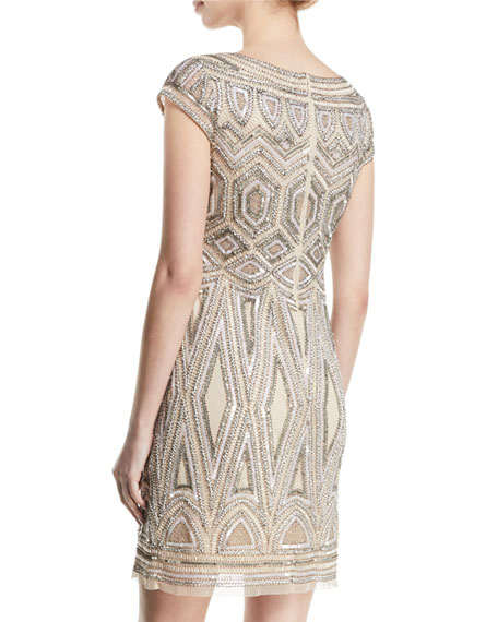 Beaded Art Deco Sheath Cocktail Dress