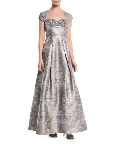 Cap-Sleeve Jacquard Gown w/ Beaded Detail