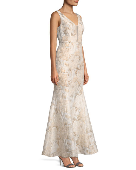V-Inset Brocade Trumpet Gown