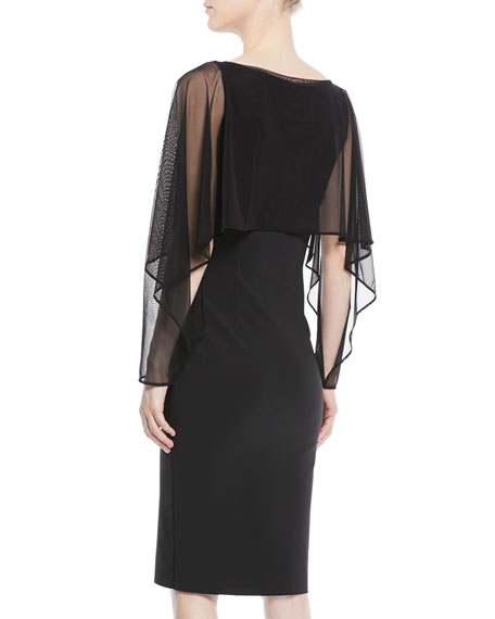 Nomeda Illusion-Sleeve Cocktail Dress w/ Mesh Capelet